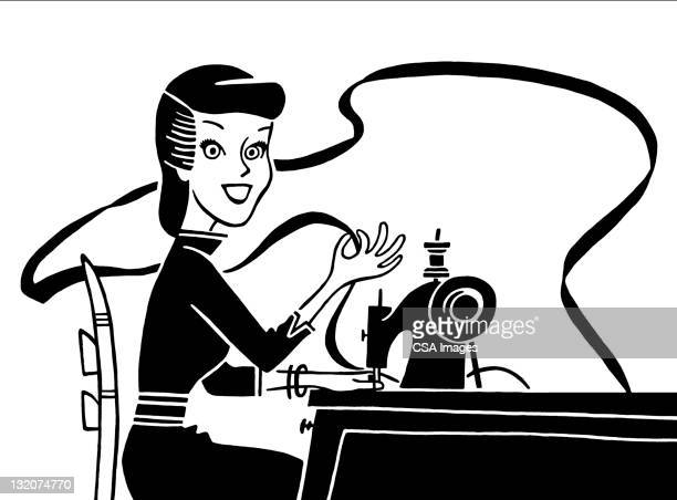 woman using sewing machine - sewing machine stock illustrations, clip art, cartoons, & icons