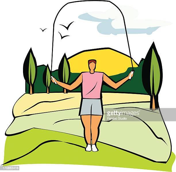ilustraciones, imágenes clip art, dibujos animados e iconos de stock de woman using skipping rope on a landscape - educacion fisica