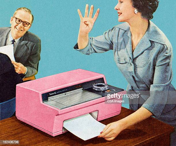 Woman Using Vintage Fax Machine