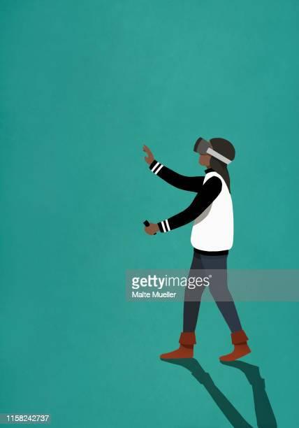 woman using virtual reality simulator - touching stock illustrations
