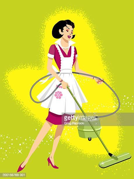 ilustrações de stock, clip art, desenhos animados e ícones de woman vacuuming - cabelo liso
