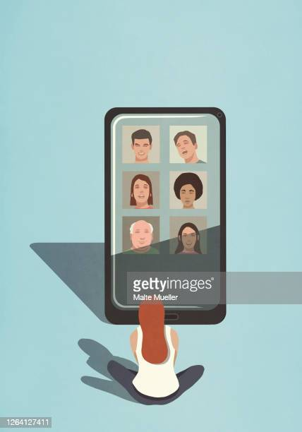 woman video chatting with friends on large smart phone screen - connection stock illustrations