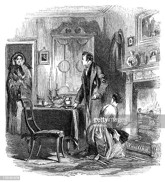 woman visiting a married couple (1855 engraving) - hood clothing stock illustrations