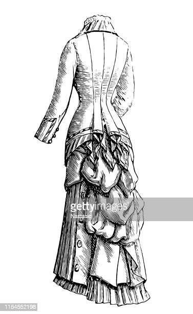 woman walk clothing of 19th century - en búsqueda stock illustrations