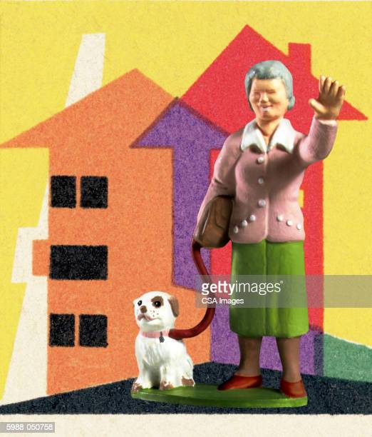 woman walking dog figurine - figurine stock illustrations, clip art, cartoons, & icons