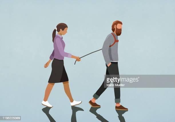 illustrations, cliparts, dessins animés et icônes de woman walking man with harness - homme soumis