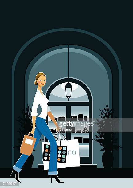woman walking on the sidewalk carrying shopping bags - updo stock illustrations, clip art, cartoons, & icons