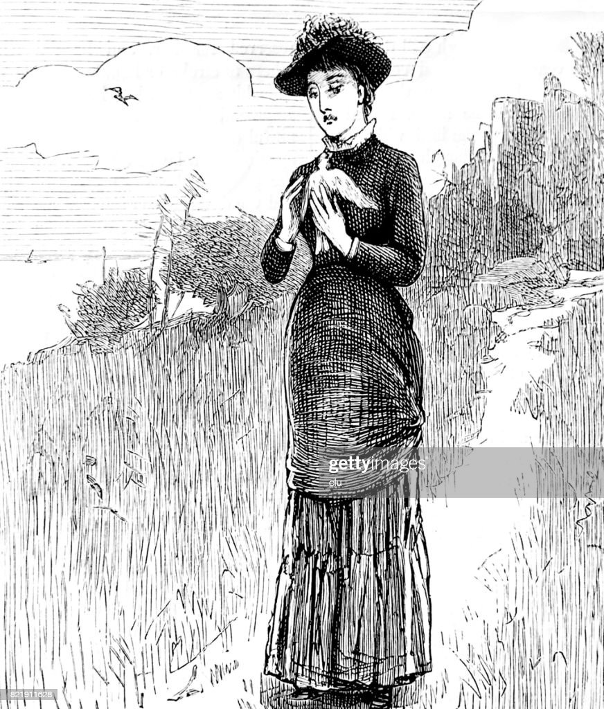 Woman walking the path holding a dove in her hands : stock illustration