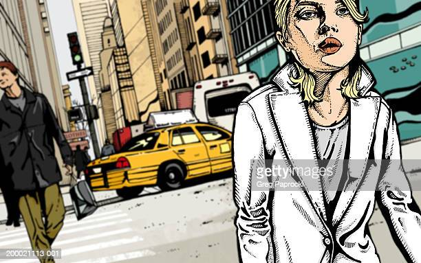 woman walking through busy city intersection (selective focus) - yellow taxi stock illustrations, clip art, cartoons, & icons