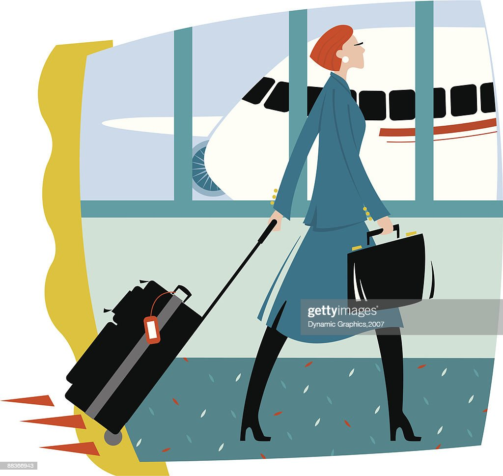 A Woman walking through the airport pulling her luggage behind her, Color : stock illustration