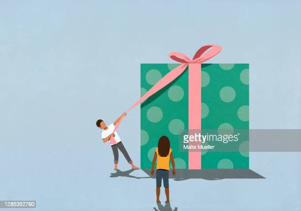 woman watching husband open large gift - opportunity stock illustrations