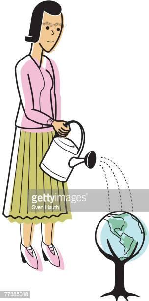 a woman watering a tree globe - 水の無駄遣い点のイラスト素材/クリップアート素材/マンガ素材/アイコン素材