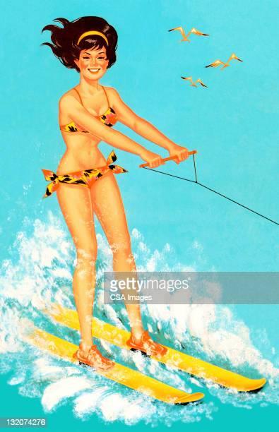 woman waterskiing - swimwear stock illustrations, clip art, cartoons, & icons