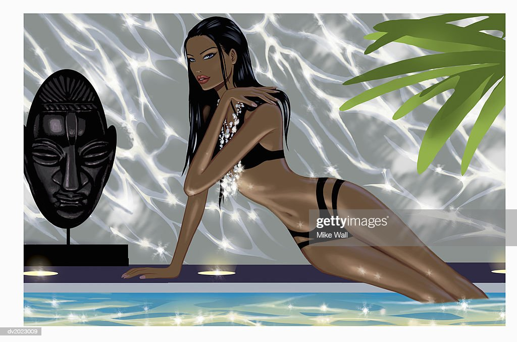 Woman Wearing a Bikini and Silver Necklace Sits by a Poolside, Illustration : Stock Illustration
