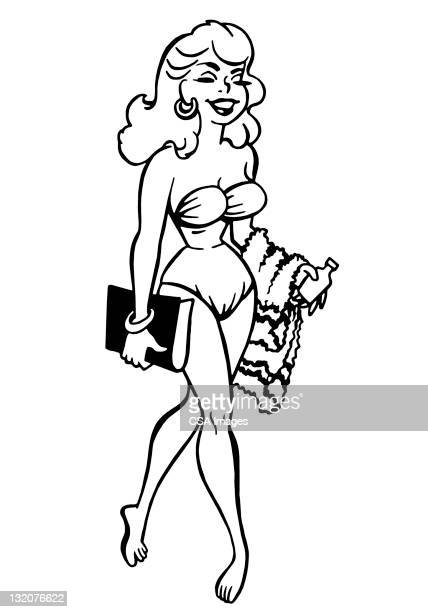 ilustraciones, imágenes clip art, dibujos animados e iconos de stock de mujer de pie usando un bikini - reina de belleza