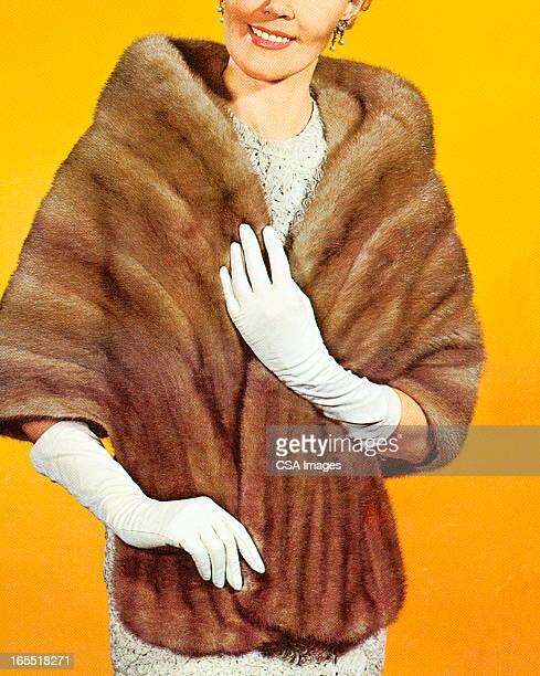 woman wearing a fur stole - shawl stock illustrations