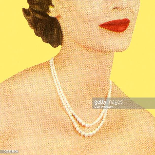 woman wearing a pearl necklace - pearl necklace stock illustrations