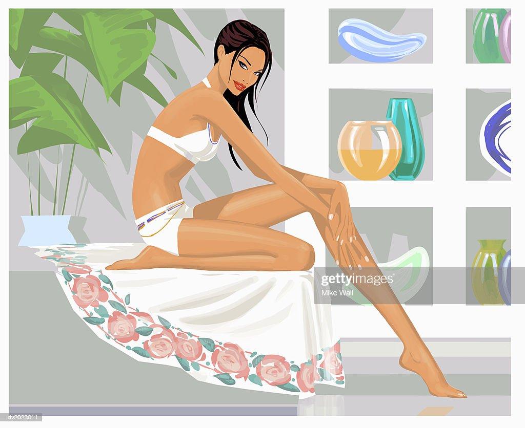 Woman Wearing a White Bikini Sitting in a Spa : Stock Illustration