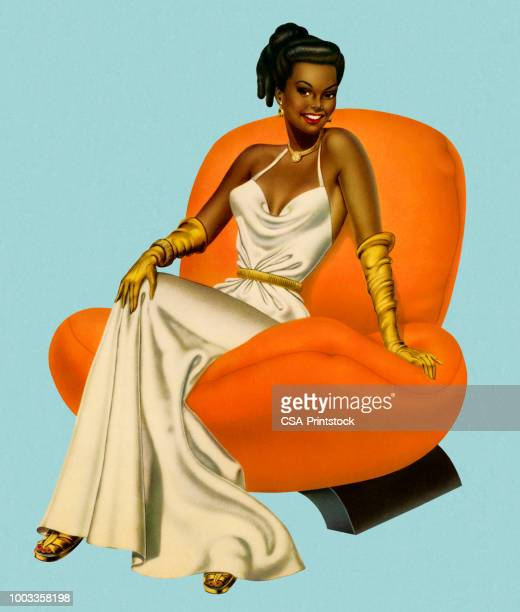 woman wearing an evening gown - evening gown stock illustrations