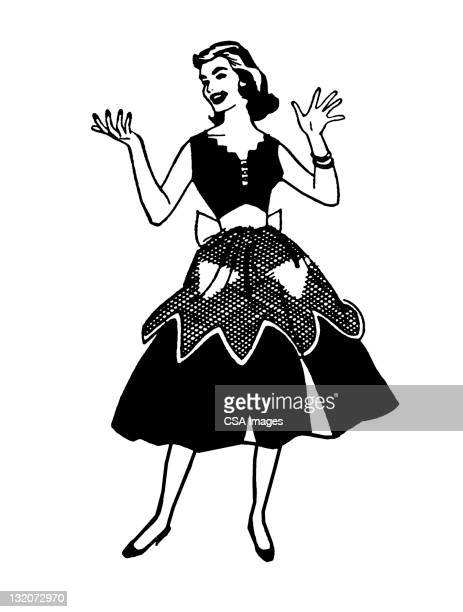 woman wearing apron - stay at home mother stock illustrations, clip art, cartoons, & icons