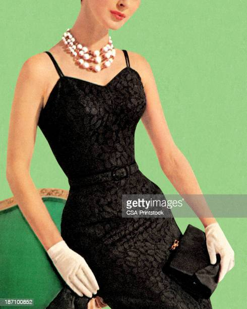 illustrations, cliparts, dessins animés et icônes de femme portant une robe noire - femme bcbg