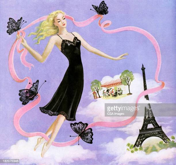 Woman Wearing Black Full Slip