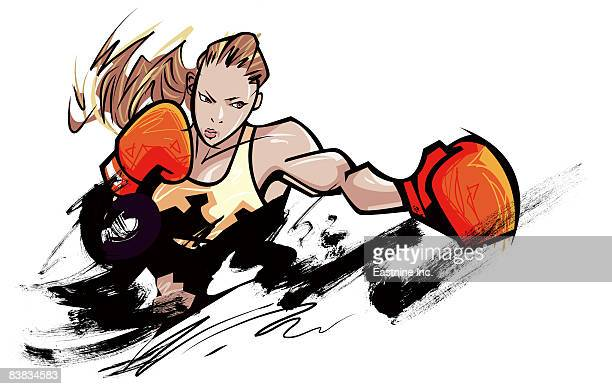 woman wearing boxing glove - fighting stance stock illustrations, clip art, cartoons, & icons