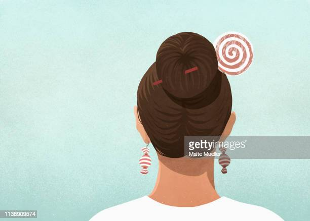 woman wearing candy hair pin and earrings - sugar food stock illustrations, clip art, cartoons, & icons