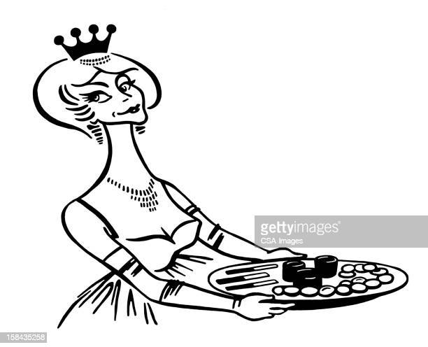 Woman Wearing Crown Holding Tray