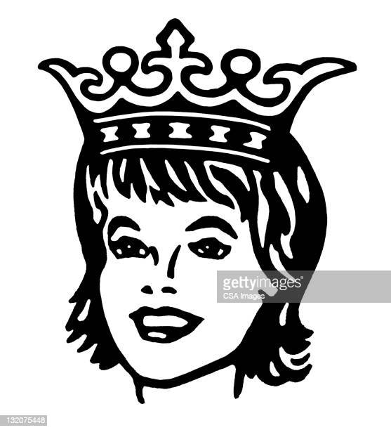 woman wearing crown - queen royal person stock illustrations, clip art, cartoons, & icons