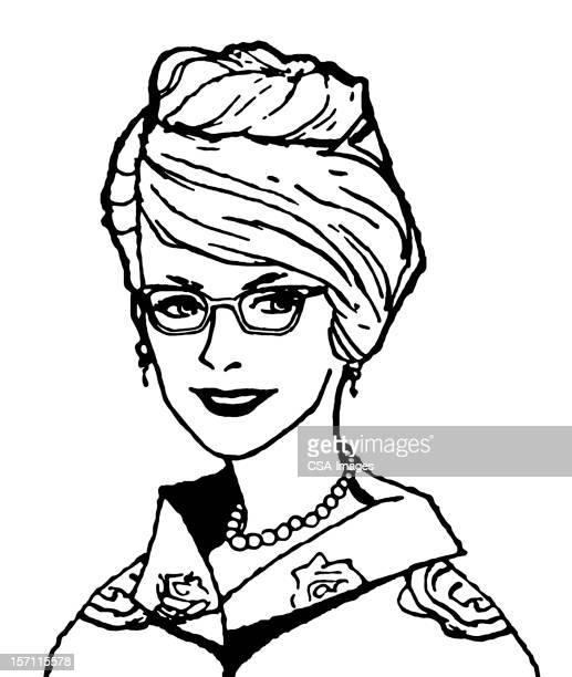 女性を着て、眼鏡 - updo点のイラスト素材/クリップアート素材/マンガ素材/アイコン素材