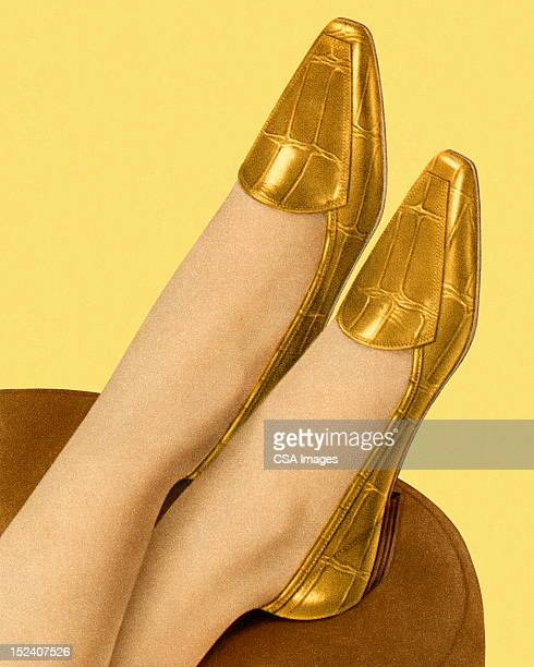 woman wearing gold flats - gold shoe stock illustrations