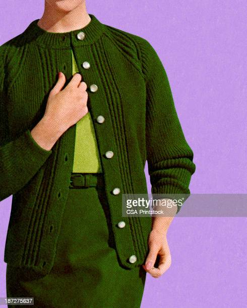 woman wearing green skirt and sweater - cardigan sweater stock illustrations, clip art, cartoons, & icons