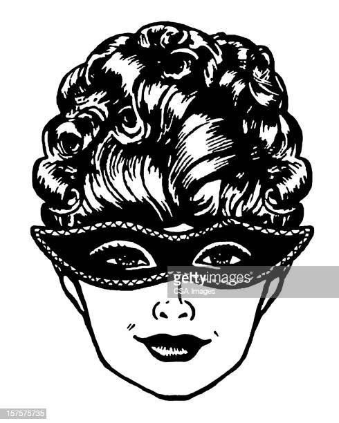 woman wearing mask - updo stock illustrations, clip art, cartoons, & icons