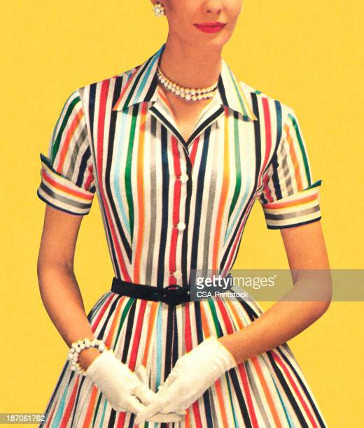 Woman wearing old-fashioned striped dress with white gloves