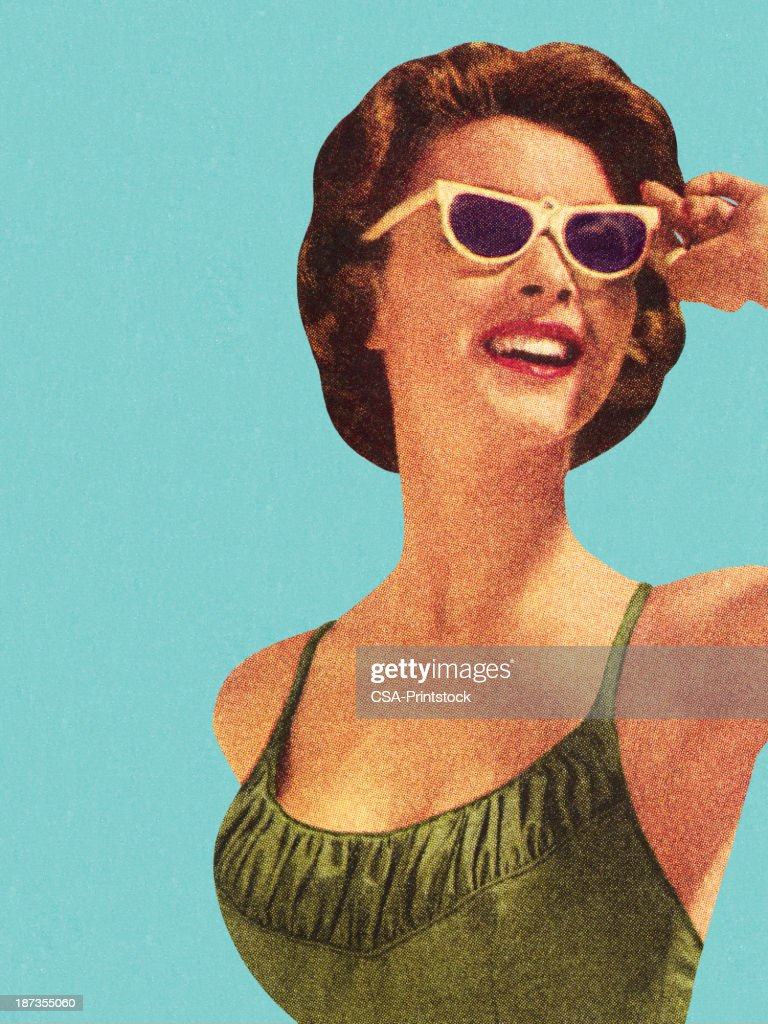 Woman Wearing Sunglasses and Green Swimsuit : stock illustration