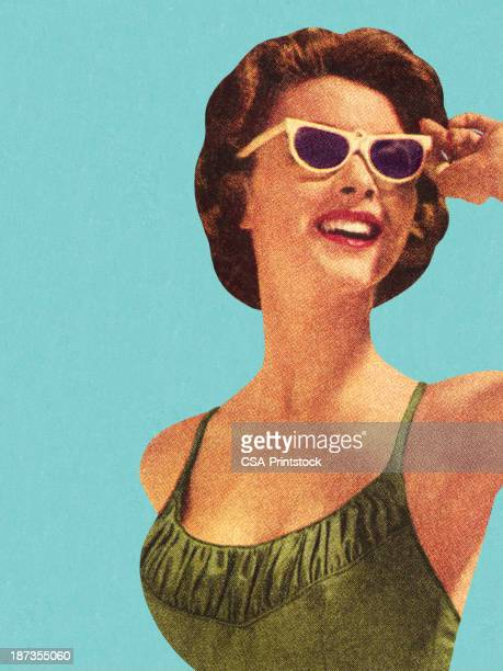 woman wearing sunglasses and green swimsuit - retro style stock illustrations