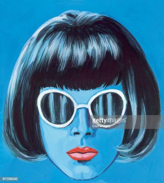 女性の身に着けているサングラス - ショートヘア点のイラスト素材/クリップアート素材/マンガ素材/アイコン素材