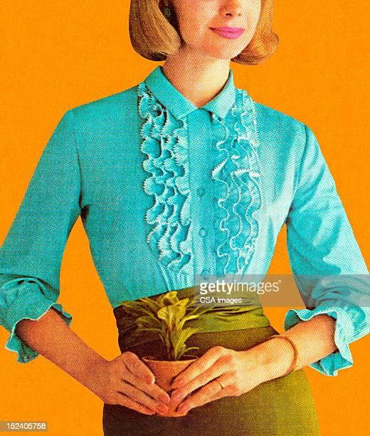 ilustrações de stock, clip art, desenhos animados e ícones de mulher vestindo blusa azul turquesa - planta de vaso
