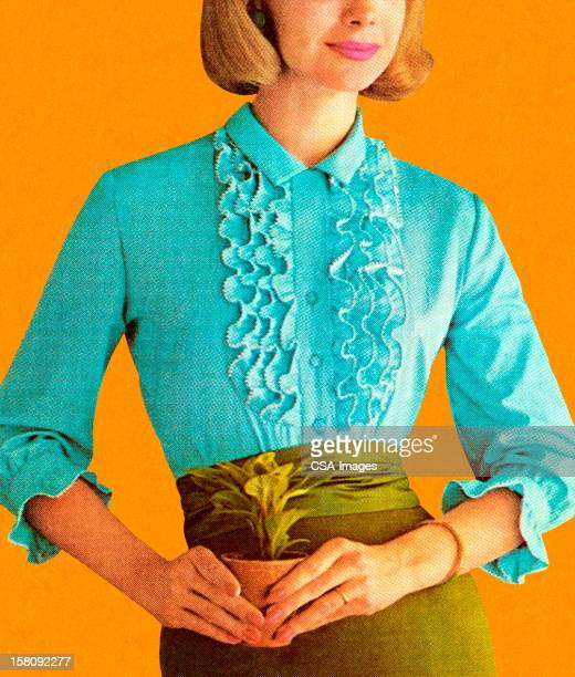 Woman Wearing Turquoise Blouse