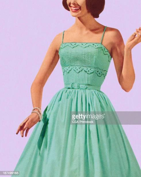 ilustraciones, imágenes clip art, dibujos animados e iconos de stock de mujer usando vestido azul turquesa - modelo de modas
