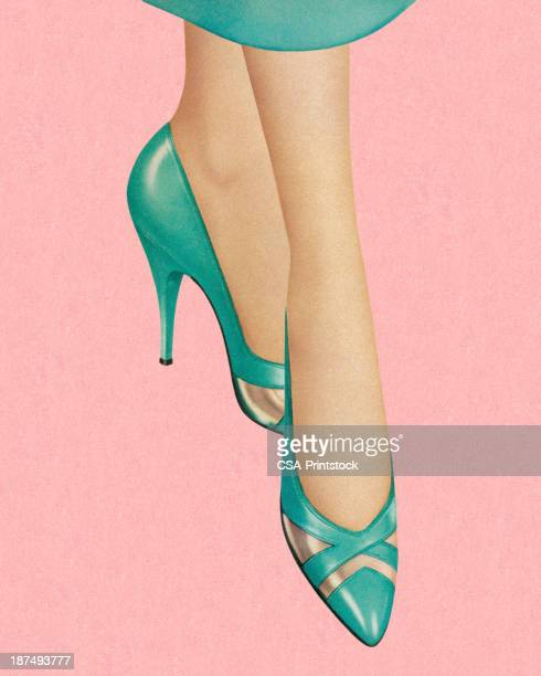 woman wearing turquoise heels - footwear stock illustrations, clip art, cartoons, & icons