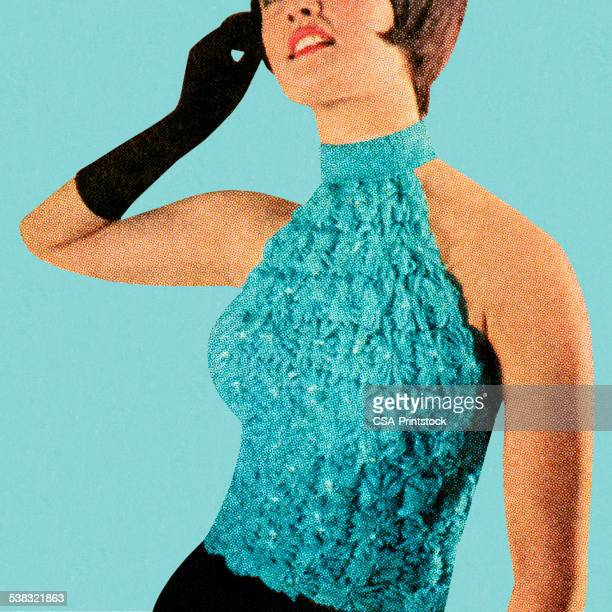 Woman Wearing Turquoise Top