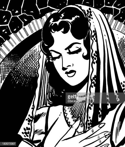 Woman Wearing Veil y los ojos cerrados