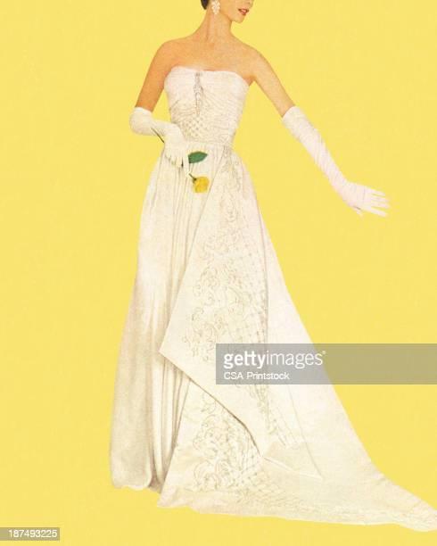 ilustraciones, imágenes clip art, dibujos animados e iconos de stock de woman wearing white dress y sosteniendo rosas - vestido de novia
