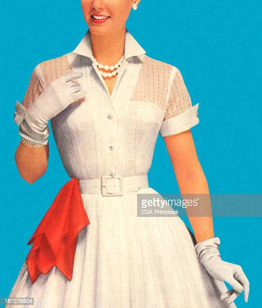 woman wearing white dress with red handkerchief - artist's model stock illustrations, clip art, cartoons, & icons