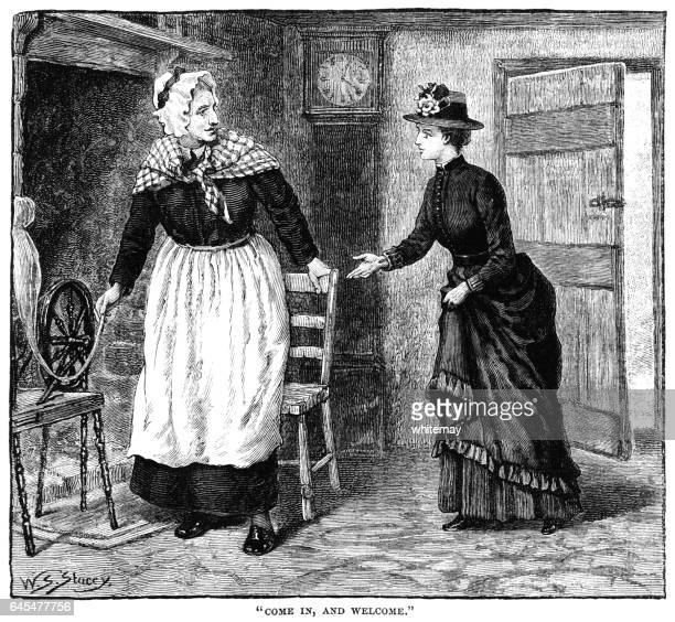Woman welcoming a Victorian lady into her cottage