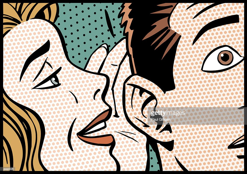 Woman Whispering to Man : Stockillustraties