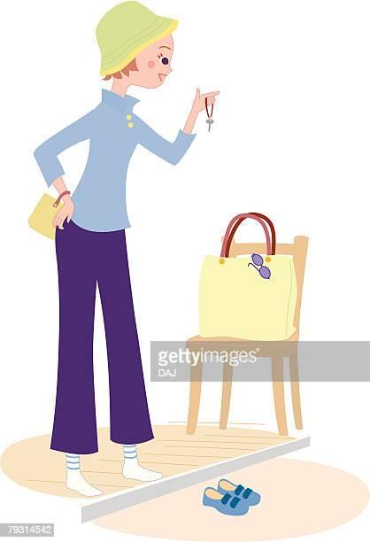 ilustraciones, imágenes clip art, dibujos animados e iconos de stock de woman who gets ready to outing, illustrative technique - mujeres de mediana edad