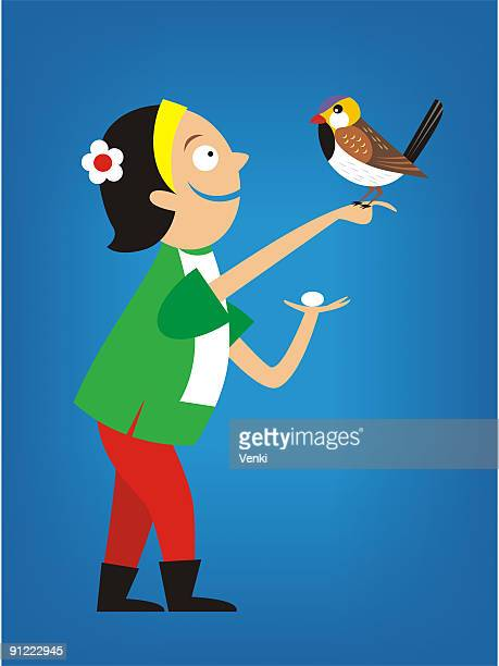 a woman with a bird sitting on her hand and an egg in the other - other stock illustrations, clip art, cartoons, & icons